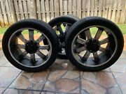 Car Tires And Rims Black Tires With 8 Plugs. Used Good Quality
