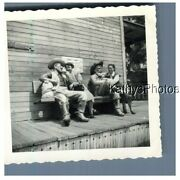 Found Bandw Photo G_2842 Ghost Town Two Women Sit With Cowboy Statues