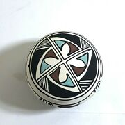 Vintage Laguna New Mexico Native American Painted Pottery Round Box Signed Elm