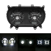 New Motorcycle Dual Led Headlight With White Drl For Harely Road Glide 2015-2020