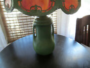 Antique Arts And Crafts Matte Green Pottery Lamp W/ Slag Glass Shade Weller Teco