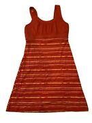 Alpine Design Tank Dress Size M Dark Pink And Yellow Striped Rouched Top Comfort