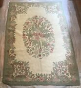 Vintage Occupied Japan Hand Woven Hooked Rug Floral Wool Yarn 74 X 47 1/4 Rr2