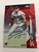 2020 Topps Chrome Red Refractor Autograph Gavin Lux Los Angeles Dodgers Auto 4/5