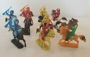 19 Piece Lot Vintage Molded Plastic Toy Cowboys Indians Horses Made Hong Kong