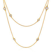 Rock And Divine Dawn Collection Lily Pad Diamond Necklace 18k Yellow Gold 1.6 Ctw