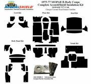 1975 - 1977 Mopar Dodge And Plymouth B Body Coupe Complete Acoustic Insulation Kit