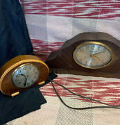2 Antique Mantle Desk Clocks For Parts Or Repair Ge Chime And Sessions W-9