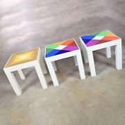 Trio Of Mod Pop Art Plastic Parsons Style Square Side Tables Style Kartell