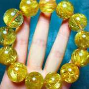 Natural Gold Rutilated Titanium Stretch Round Crystal Beads Bracelet 18.5mm