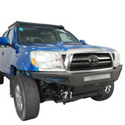 Black Front Bumper Cover W/ Skid Plate And Light Bar Steel For Toyota Tacoma 05-15