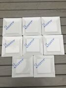Set Of 8 Fishs Eddy Savory Script Plates Excellent Pre-owned 6x6