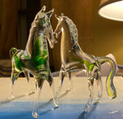 Rare Andhard To Find Lot Of 2 Clear And Green Murano Glass Horse Pony Ponies Estate
