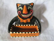 New Tiny Primitive Folk Art Hand Painted Halloween Black Cat Candy Container