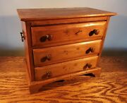 Attractive Victorian Honey Coloured Pine Apprentice Chest Of Drawers C.1880