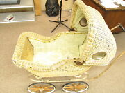 Antique 1880/1914 Wicker Full Size Baby Carriage Buggy Stroller Strugis Michigan