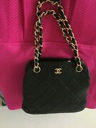 Vintage Black Lambskin Quilted Bag Come With Authenticity Card