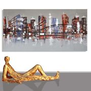 Abstract Paintings Modern Art Wall Hand Painted Canvas City Unique 78 X 40