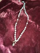 Antique Child's Silver And Bead Catholic Rosary Italy