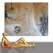 Abstract Paintings Modern Art Wall Hand Painted Canvas Decor Creme 78 X 55