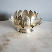 Reed And Barton Silverplate Lotus Flower Candle Candy Dish Bowls 3002 - 2 Pc Set