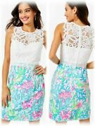 268 New Lilly Pulitzer Sharice Stretch Shift Dress Coral Bay Lace 2 4 10