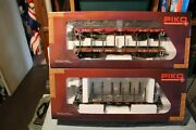 Lot Of 3 Total Piko G Scale Flat Cars With Stakes , One With Bulkheads Nib