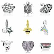 Women Sterling Beads Charm Love Animal Pet Paw Queen Bee Crystal Fit Bracelets