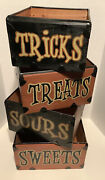 Primitive Halloween Stacked Wood Nesting Boxes Sweet Sour Treats Or Tricks Boxes