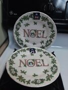 Royal Wessex Churchill 2 Salad Plates Noel Christmas England Holly Berries Snow