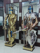 Medieval Knight Suit Armour Set Of 2 Combat Full Body Armor In Stainless Steel
