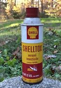 Vintage Shell Shelltox Aerosol Insecticide Metal Tin Can Not Motor Oil