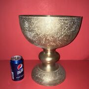 Vintage/antique Rare Large Brass Goblet Tall Hand Tooled/etched/engraved