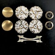 Drawer Cabinet Pulls Backplates Mix And Match White Gold Metal Vtg Mid Century