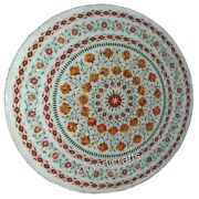 30 Inches Marble Coffee Table Top Inlay Center Table With Carnelian Stone Art