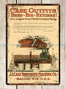 Reproduction Signs 1910 Case Steam Threshing Outfits Tractor Metal Tin Sign