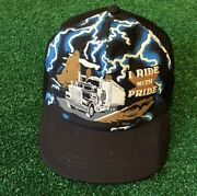Vtg 80s Lightning Ride With Pride Trucker Hat Rare Vintage Made In Usa Snapback