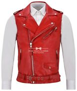 Brando Menand039s Red Motorcycle Biker 1025 Steam Punk Real Nappa Leather Waistcoat