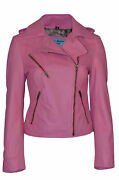 Ladies Summer Fashion Casual Style Pink Real Soft Napa Awesome Leather Jacket