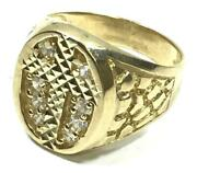New 10k Yellow Gold 22 Mm Long Two Tone Jesus Face Head Hip Hop Style Ring R3039