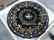 50 Inches Marble Dinning Table Top Black Occasion Table With Ancient Crafts