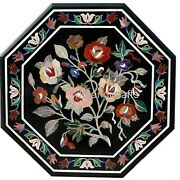 Multi Color Flower Art Octagon Coffee Table Top Marble Patio Table Top 30 Inches