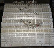 Lot Of 11 Apple Aluminum Keyboard Wired Usb A1243 For Parts Or Not Working