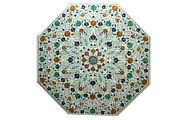 36 Inches Marble Office Table Top With Multi Gemstones Work Dinning Table Top