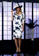 Veromia Occasions Vo5004 Navy Floral Mother Of The Bride Occasion Dress Size 14