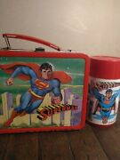 1978 D C Comic Superman Metal Lunchbox And Thermos