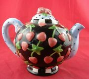 Teapot Checkered Polka Dots Strawberry Hearts, Chipped Near Spout
