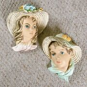 Set Of 2 Vintage Plaster Chalkware Boy And Girl In Straw Hats - Wall Mount