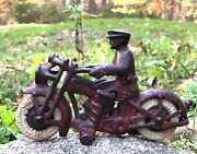 Scarce Early Champion Cast Iron Motorcycle With Battery Light W/rider