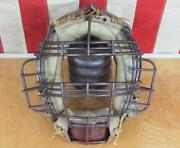 Vintage 1930s Baseball Catchers Face Mask Guard Leather Pads Metal Cage Antique